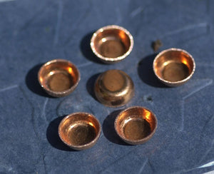 Copper Bezel Cups Blanks 24g 8mm OD 3mm tall for Enameling