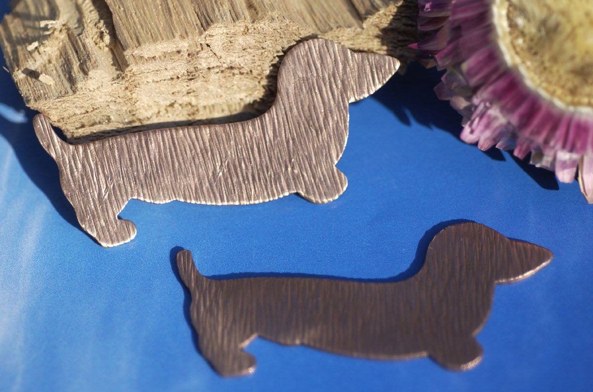Copper Doxie Dog  Woodgrain Textured for Blanks Enameling Stamping Texturing