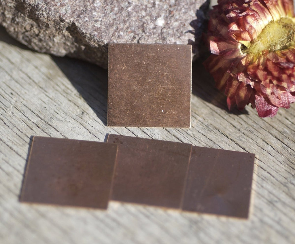 Copper Square Blank 20mm 26g for Enameling Stamping Texturing Metalworking Soldering Blanks - 6 pieces