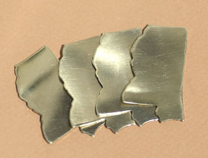 Brass or Bronze Mississippi State Blanks Cutout for Metalworking Stamping Texturing 100% Brass Blank - 4 pieces