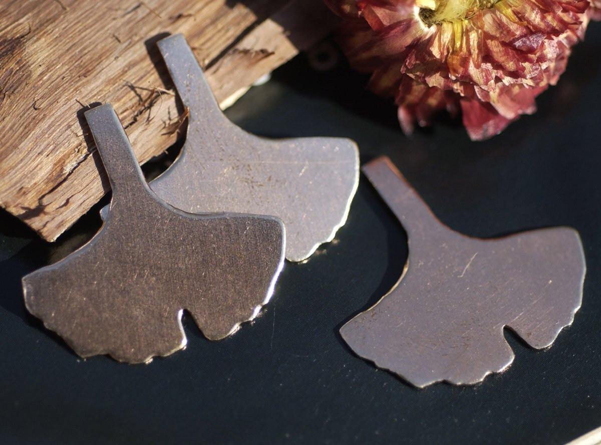 Copper Blank Ginkgo Biloba Leaf - Leaves - Fall Greenery   30mm x 28mm 20g Cutout for Enameling Stamping Texturing Blanks