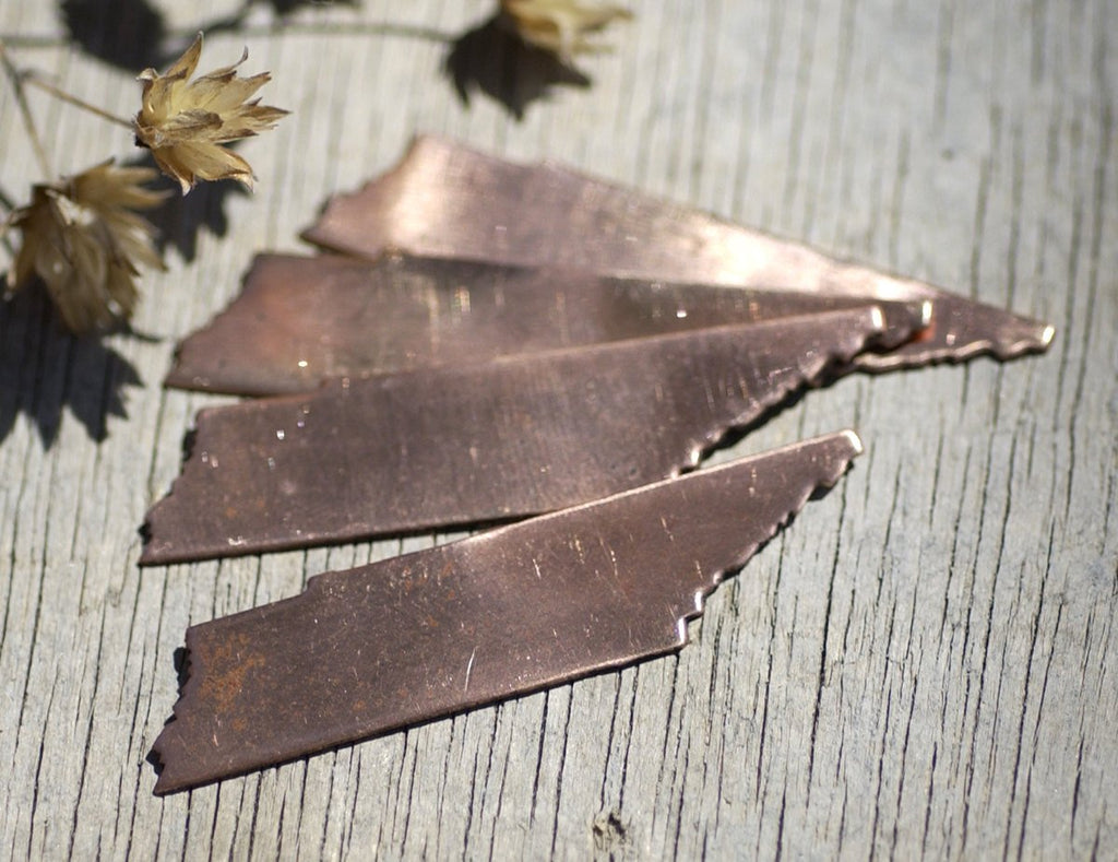 Copper Tennessee State Blanks Cutout for Enameling Metalworking Stamping Texturing 100% Copper - Jewelry Supplies - 4 pieces