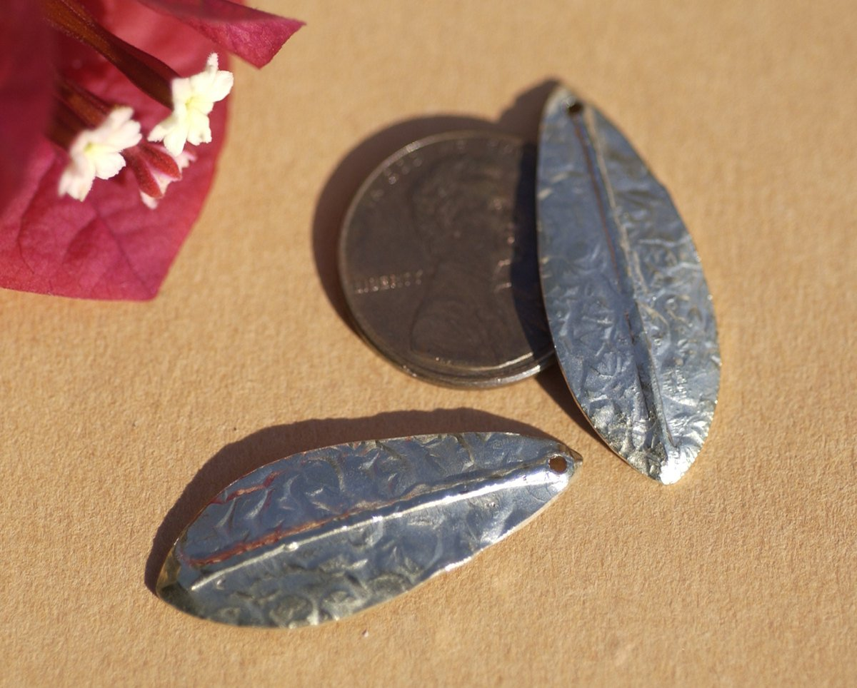 Nickel Silver or Copper or Brass or Bronze Blanks Shapes 24g Antique Hammered Textured Leaf-Leaves-Tree Fall Greenery Leaf 3D shape Blank