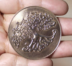 Tree of Life Disc Blank 42mm Enameling Soldering Stamping Pendant Blank, Supplies - 2 Pieces