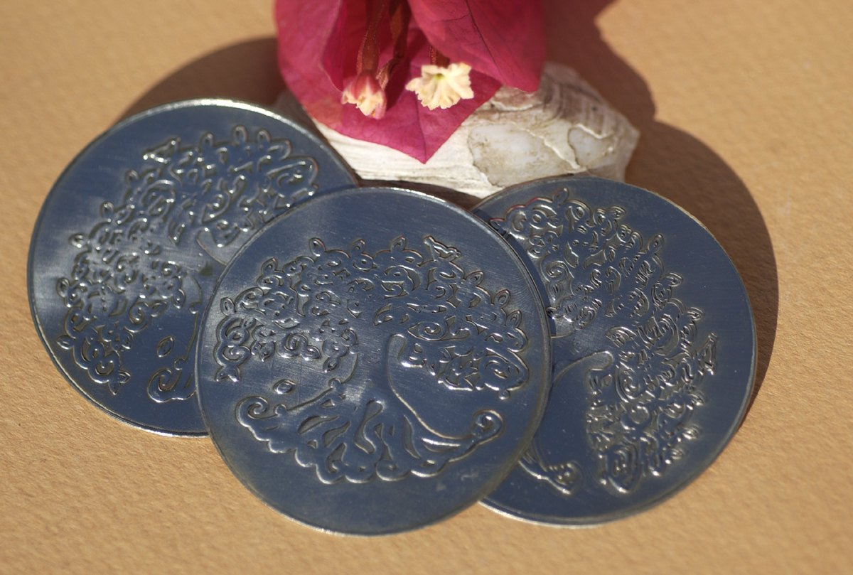 Nickel Silver Tree of Life 42mm Disc Blank, Jewelry Pendant Blank, Metal Stamp - 2 Pieces