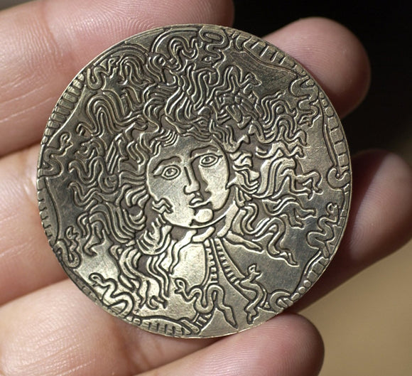 Buy Classic Medusa 40mm Disc Blank, Enameling Soldering Stamping Texturing Jewelry Charm - 2 Pieces online