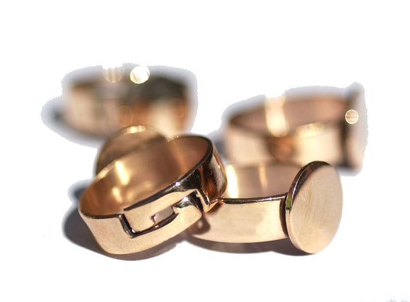 Ring Handmade Copper Adjustable Ring with Pad 12mm for Gluing Handmade Ring Blanks, DIY Ring