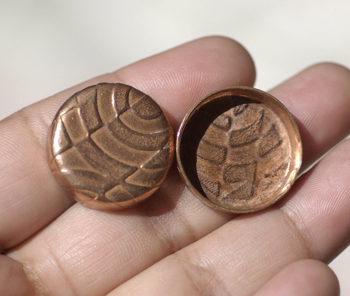Textured Copper Bezel Cups 26g 21mm Round Blanks Cutout for Enameling Metalworking Charms Jewelry Making