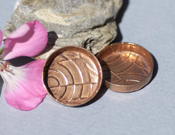 Textured Copper Bezel Cups 24g 21mm Round Blanks Cutout for Enameling Blanks -2 pieces