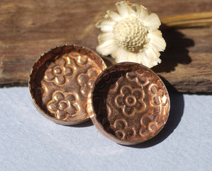 Textured Copper Bezel Cups 24g 21mm Round Blanks Cutout for Enameling Metalworking Charms Jewelry Making