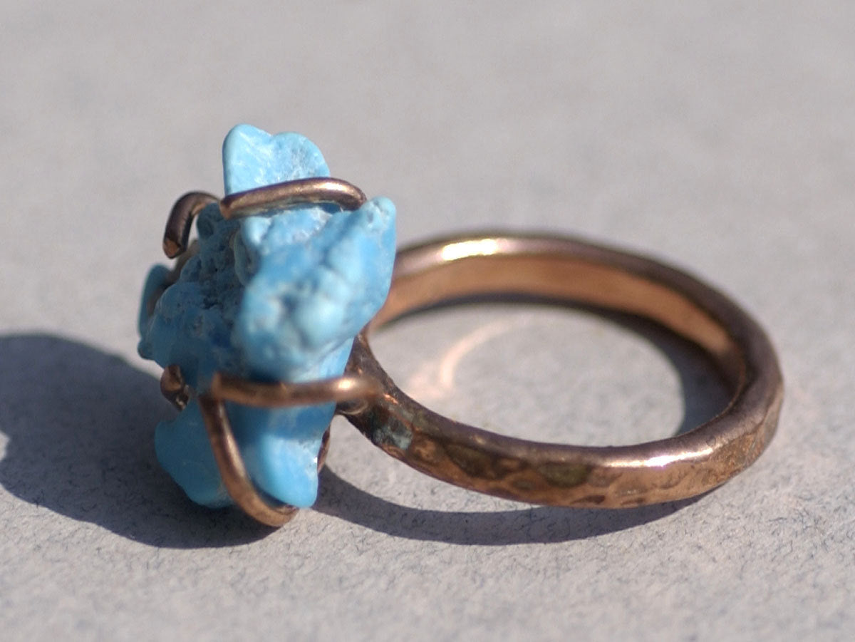 Copper Flourish Handmade Claw Ring Setting 100% Copper For Natural Stones or Whatever - Size6