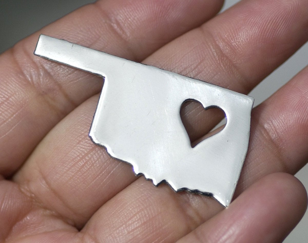 Nickel Silver Oklahoma State with Heart Perfect Cute Blanks Cutout for Metalworking Stamping Texturing Blank