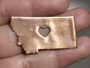 Copper or Bronze or Brass Montana State with Heart Chubby Blanks Cutout for Metalworking Stamping Texturing Blank - 4 pieces