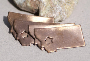 Copper or Brass or Bronze Montana State with Star Chubby Cute Blanks Cutout for Metalworking Stamping Texturing Blank Charm - 4 Pieces