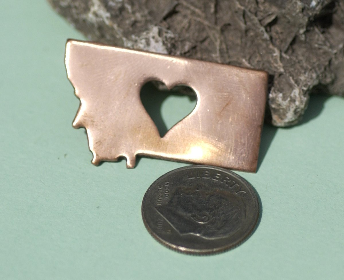Nickel Silver Montana State Medium with Heart Perfect  Blanks Cutout for Metalworking Stamping Texturing Blank - 5 pieces