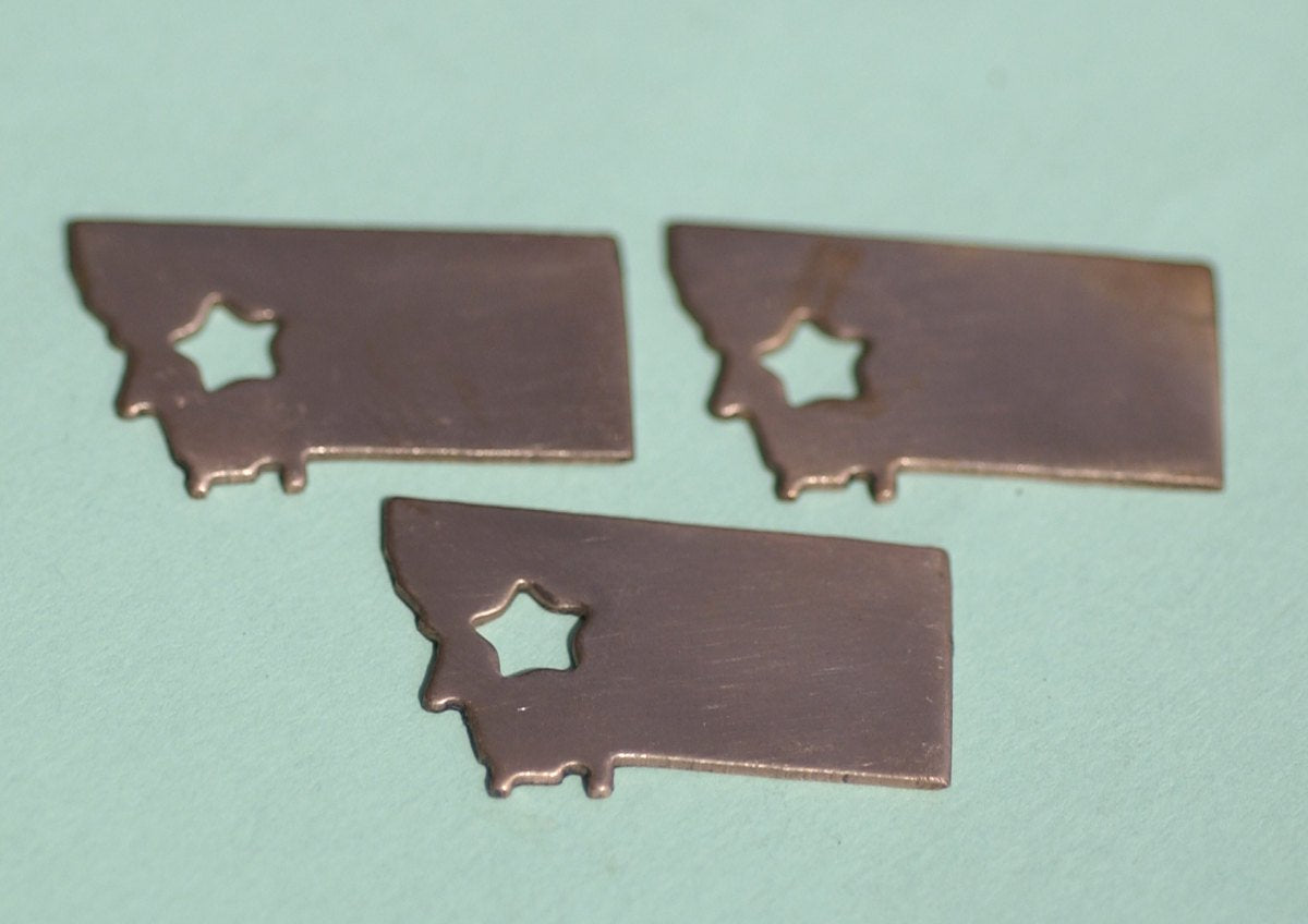 Copper or Brass or Bronze Montana State Medium with Star Cubby Cute Blanks Cutout for Metalworking Stamping Texturing Blank