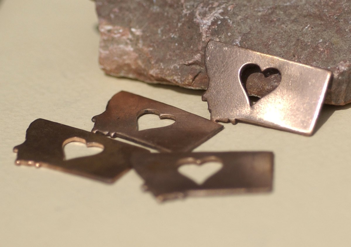 Bronze or Copper or Brass Montana State Small with Heart Perfect Blanks Cutout for Metalworking Stamping Texturing Jewelry Charms