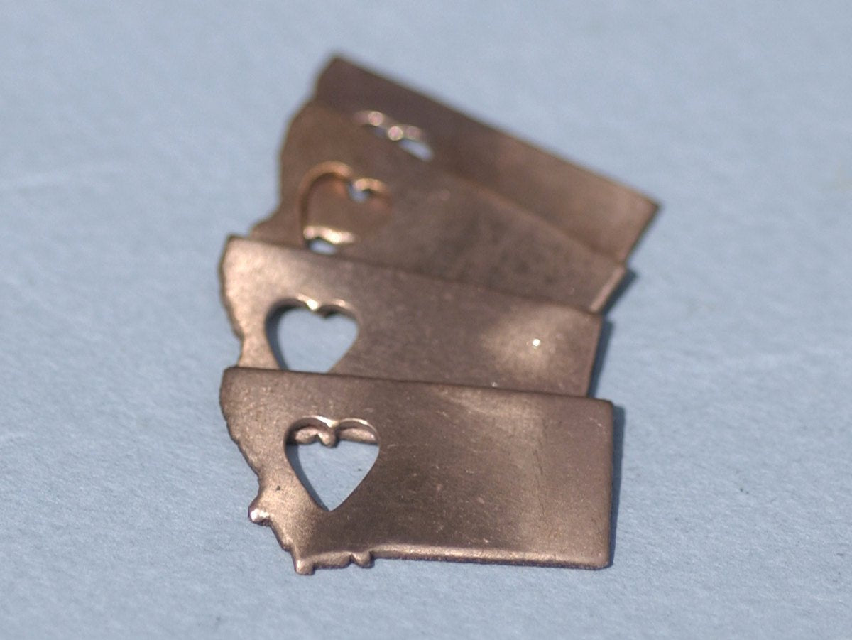 Nickel Silver Montana State Small with Heart  Blanks Cutout for Metalworking Stamping Texturing Blank