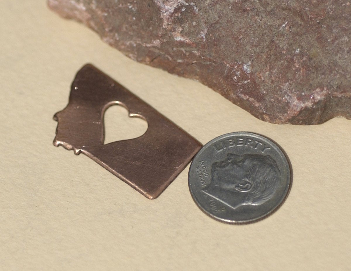 Nickel Silver Montana State Small with Heart Perfect  Blanks Cutout for Metalworking Stamping Texturing Blank