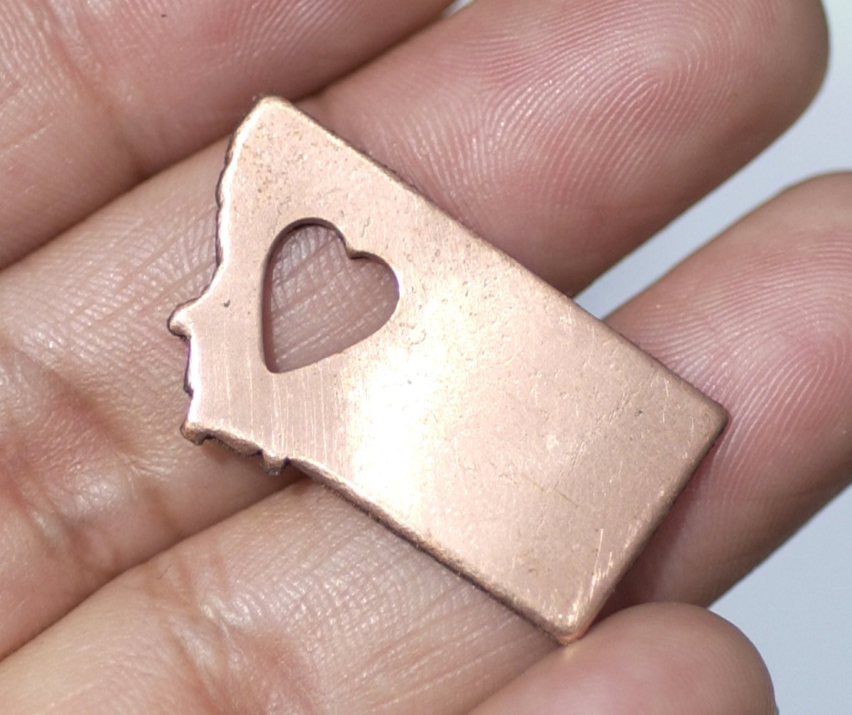 Bronze or Copper or Brass  Montana State Small with Heart  Blanks Cutout for Metalworking Stamping Texturing Blank