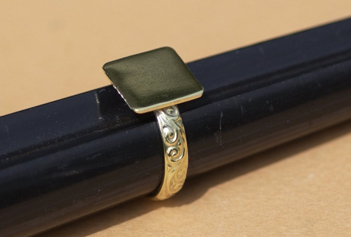 Handmade Square glue pad ring with vine pattern in brass