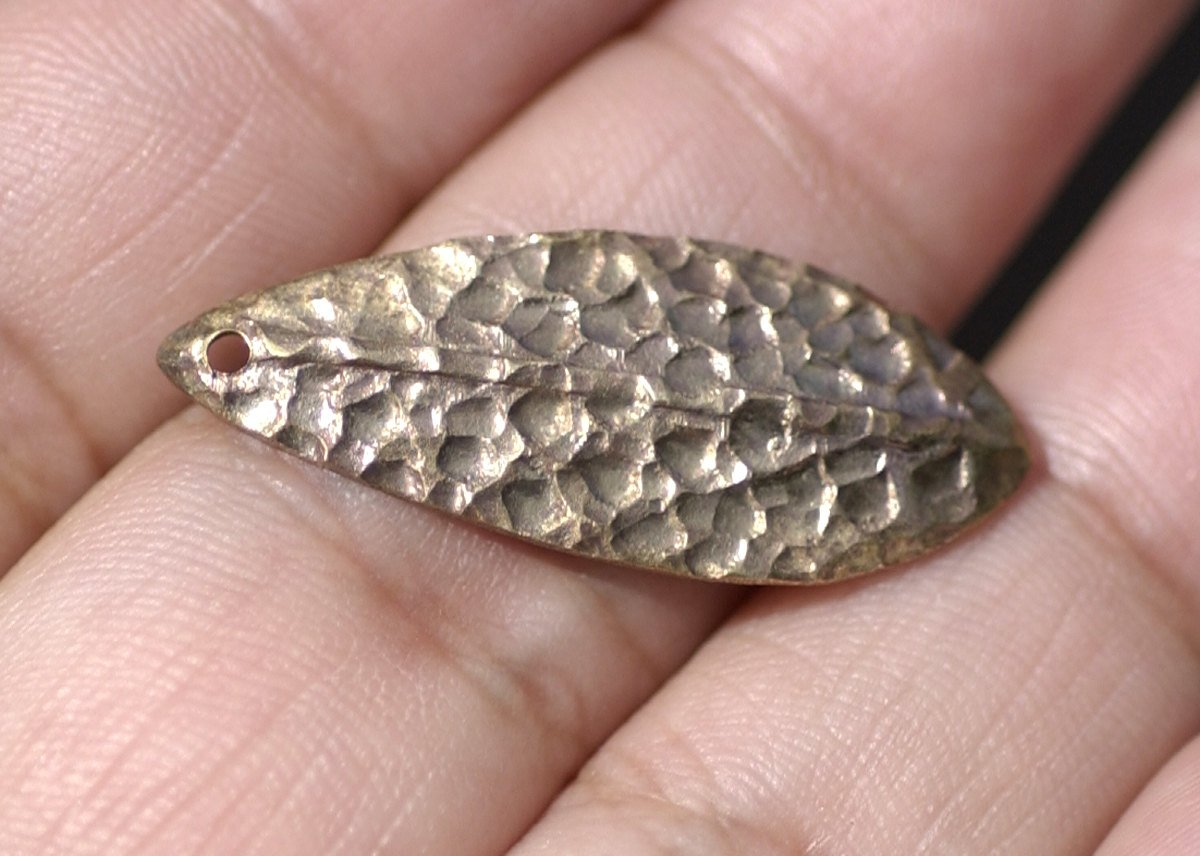 Bronze Blanks Shapes  Hammered Textured Leaf - Leaves - Tree Fall Greenery Leaf 3D 30mm x 12mm shape Blank