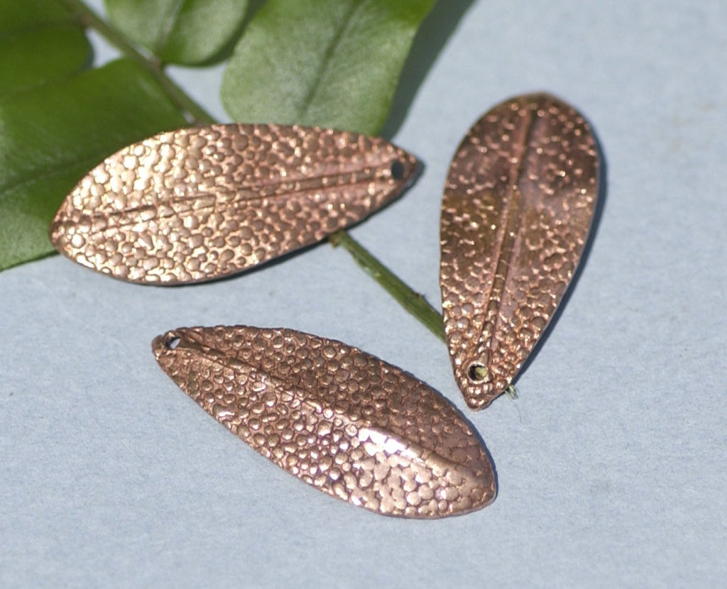 Copper Leaf - Leaves Tree Fall Greenery Leaf 3D 30mm x 12mm Shapes Dotted Pattern Cutout Blanks for Enamelng Jewelry Making,
