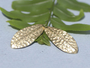 Brass Blanks Shapes  Hammered Textured Leaf - Leaves - Tree Fall Greenery Leaf 3D 30mm x 12mm shape Blank