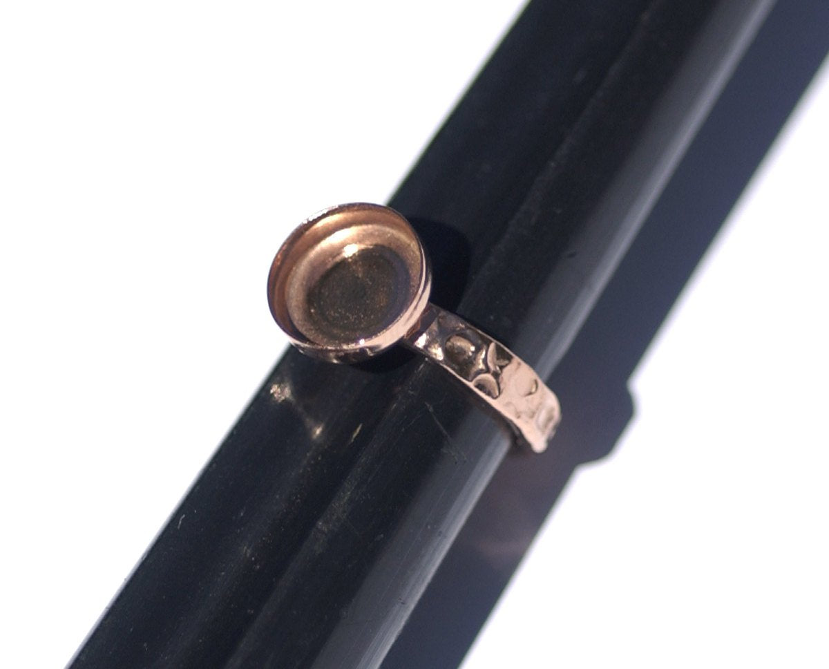 Copper Bezel Cup Ring Hammered for Resin Gluing or Setting - Size 7