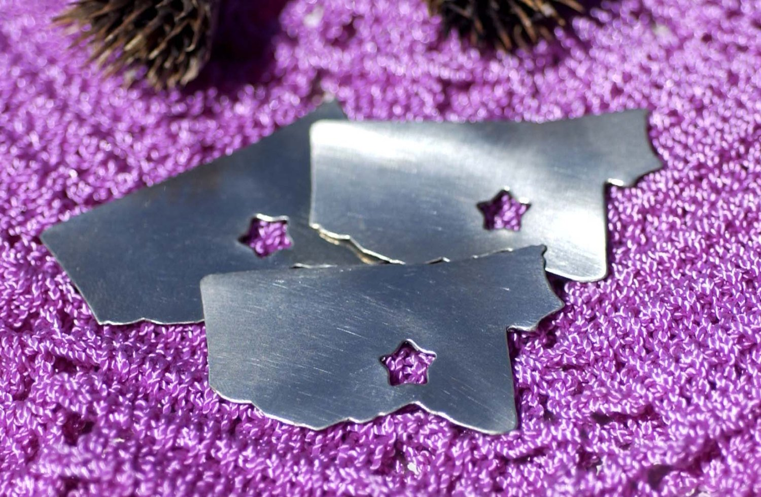 Mississippi State 42mm x 24mm with Star Blanks Cutout for Enameling Metalworking Stamping Texturing 100% Copper Blank