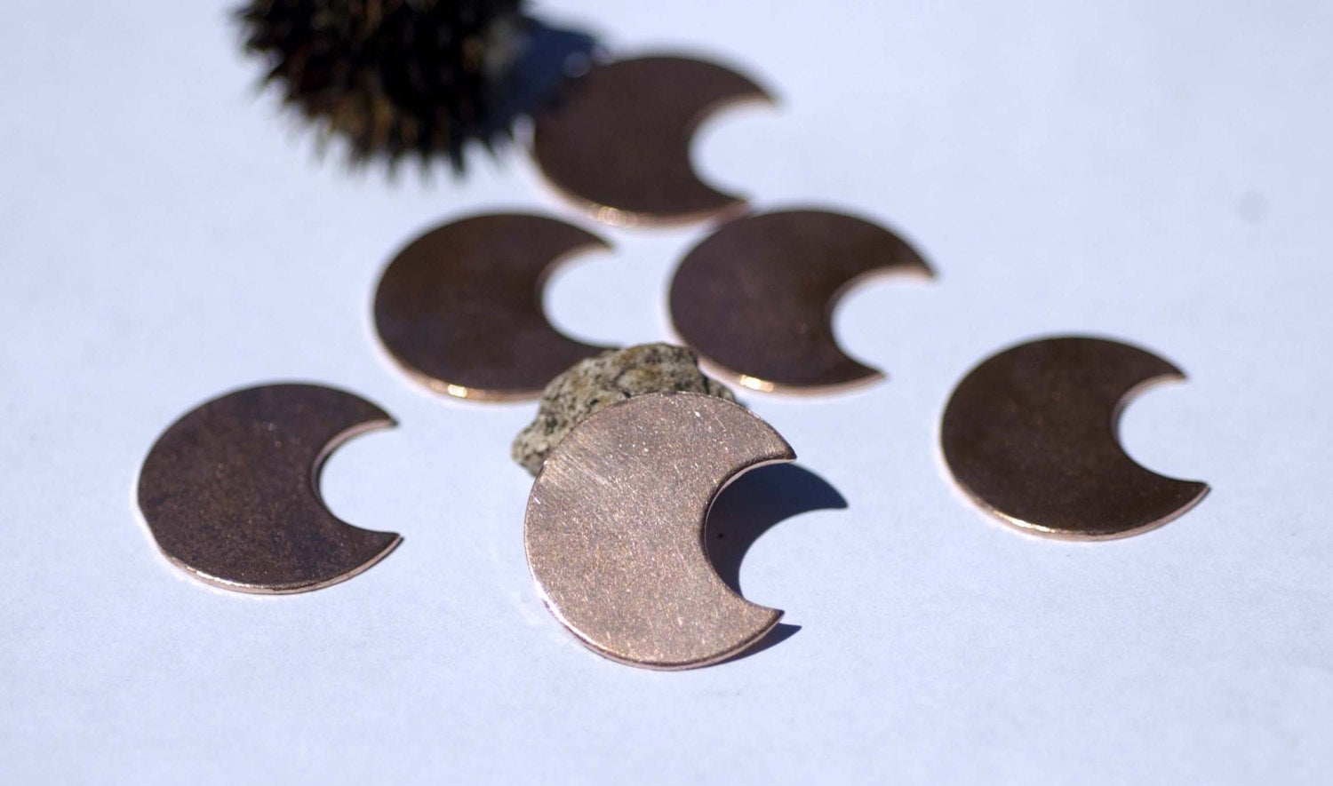 Crescent Moon shaped metal blanks 22mm x 24mm copper, brass, bronze, nickel silver