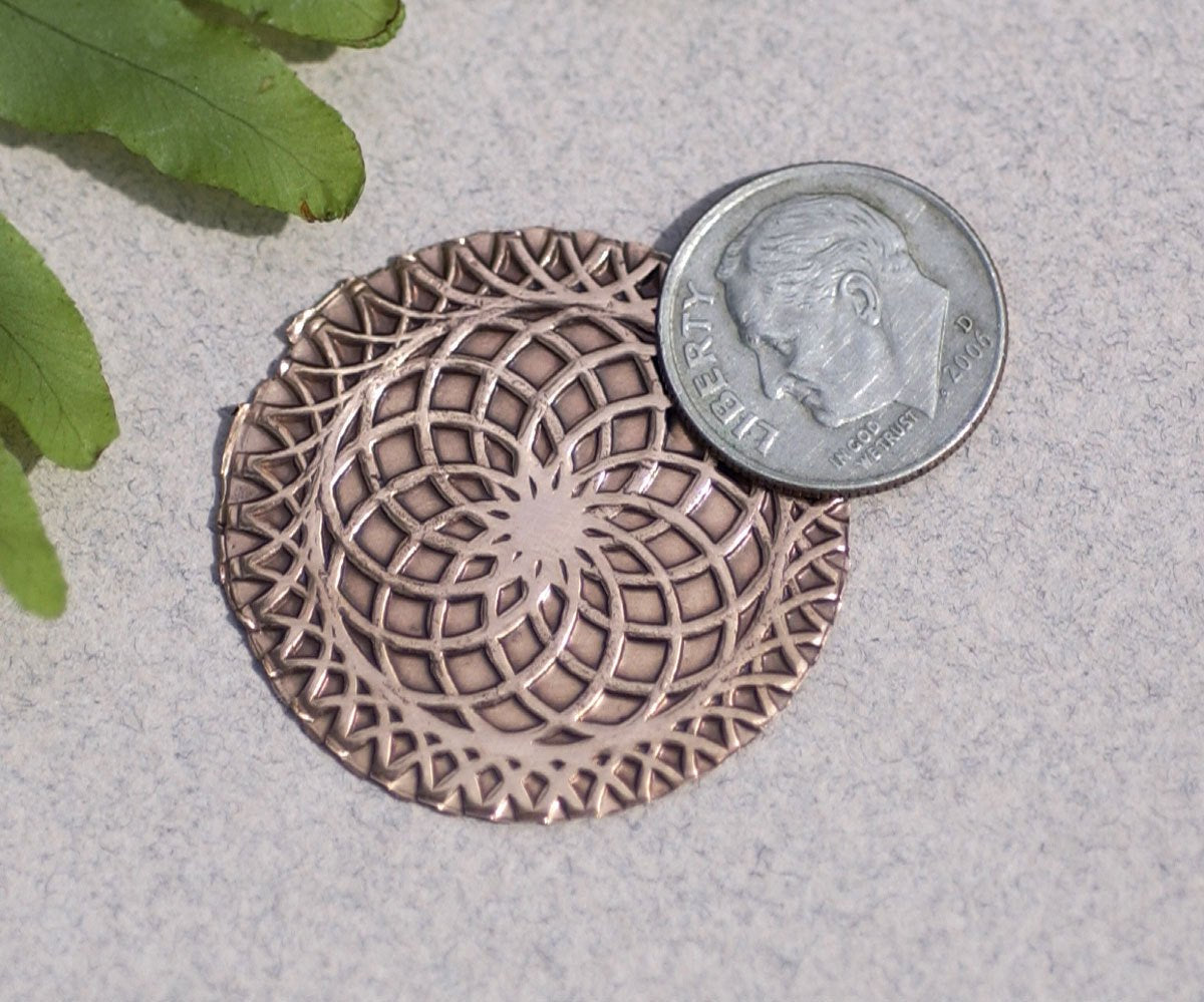 30mm Textured Disc with Circle of Life, Jewelry Making Blank Shape -Metalworking 3 Pieces