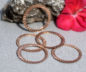 30mm Hoops Circle of Life Texture, Enameling, Stamping, Texturing, Jewelry Component, Variety of Metal - 4 Pieces