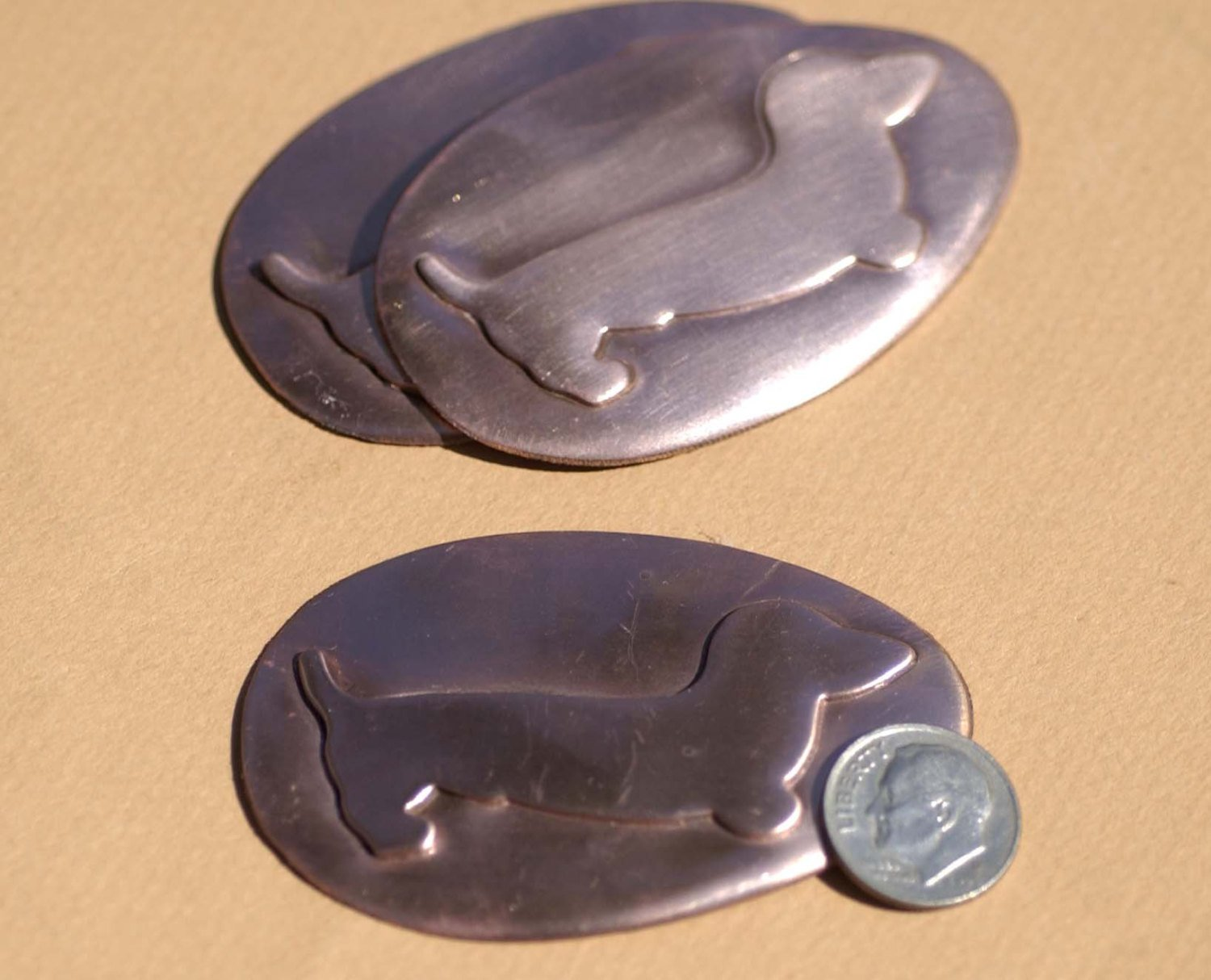 Embossed Weiner Dog on Big Oval Shaped Egg 64mm x 41mm Blanks Enameling Stamping Texturing