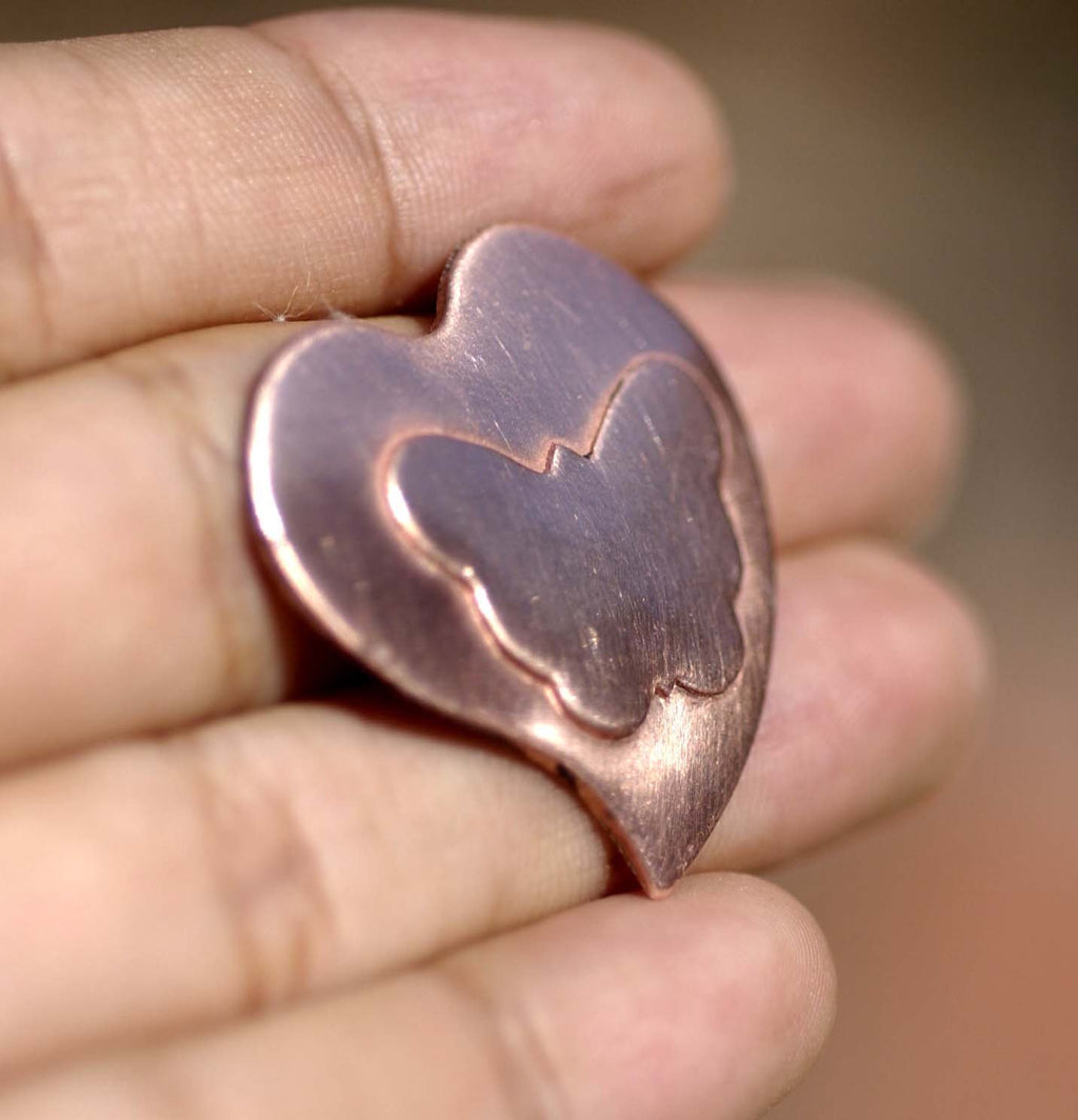 Whimsy Heart Embossed Butterfly Blank Cutout for Enameling Stamping Texturing Metalworking Jewelry Making Blanks