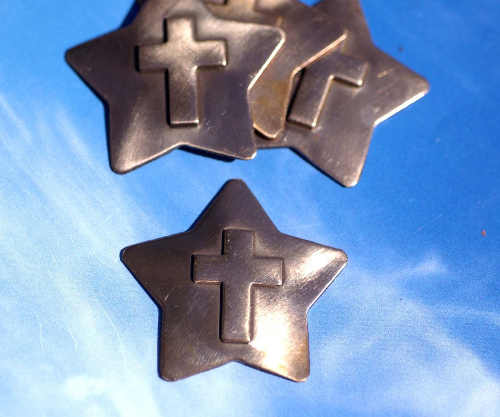 Star Cross Embossed Blank Cutout for Enameling Stamping Texturing Metalworking Jewelry Making Blanks