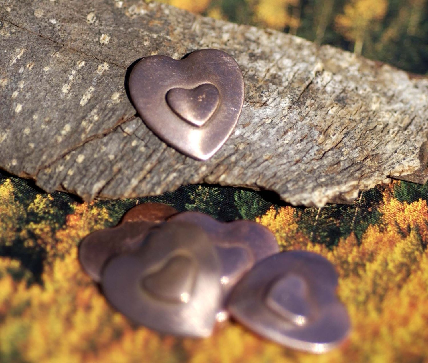 Heart on Heart Blanks Cutout for Enameling Stamping Texturing