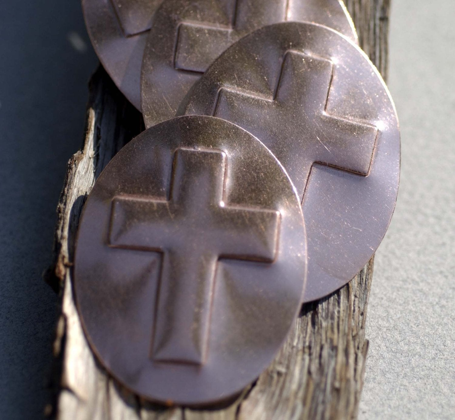 Religious Cross Embossed on Oval Blanks Enameling Stamping Texturing - 4 pieces