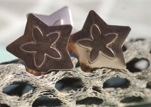 Flowery Star Embossed Blank Cutout for Enameling Stamping Texturing Metalworking Jewelry Making Blanks