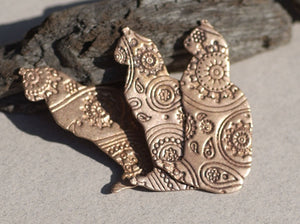 Cats 43mm x 24mm Paisley Textured 26g Blanks for Enameling Metalworking Soldering Stamping Blank - 3 pieces