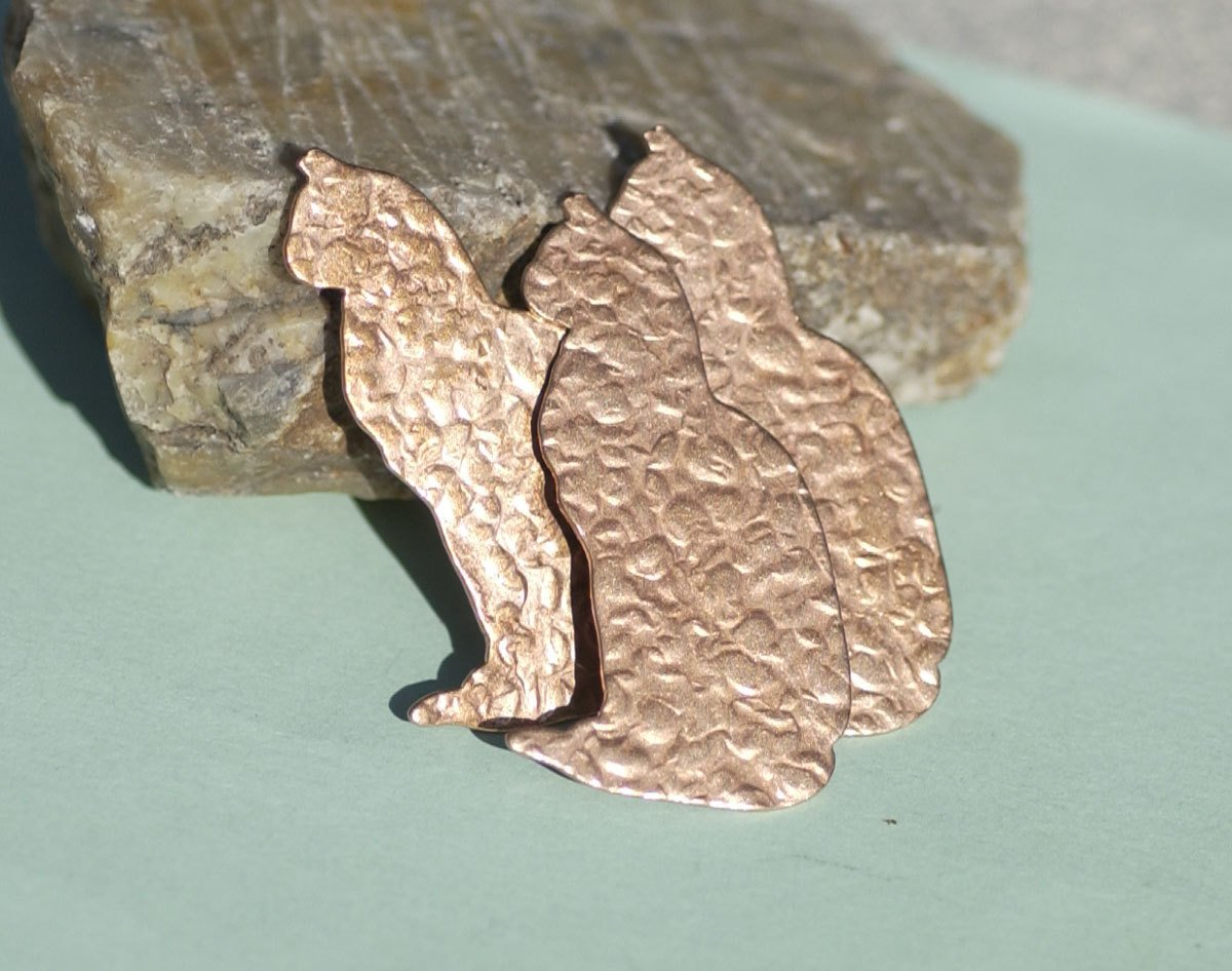 Antique Hammered Cats 43mm x 24mm 26g Blanks for Enameling Metalworking Soldering Stamping Blank Variety of Metals