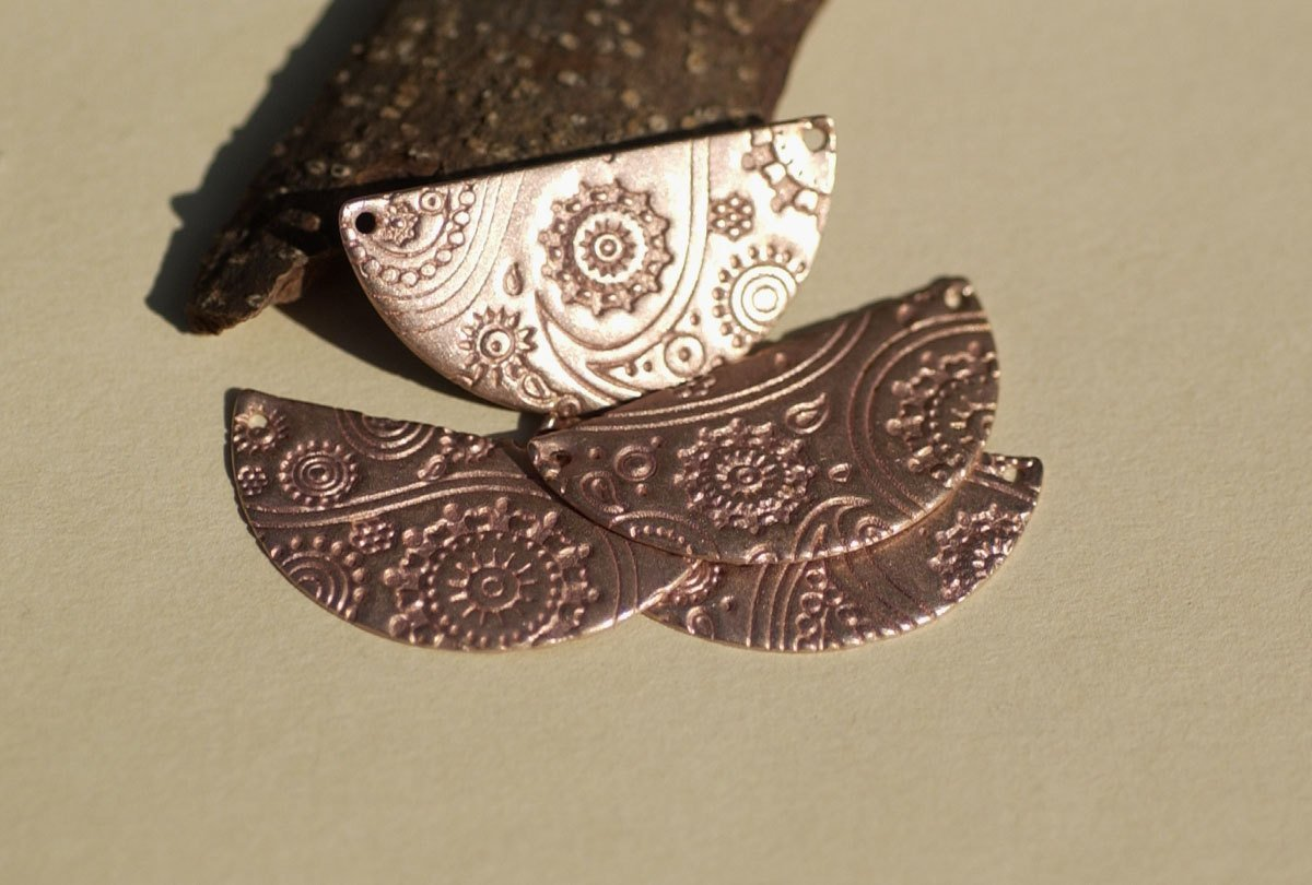 Copper Blanks Half Moon Rounded Dangle Paisley Textured for Enameling Stamping Texturing Blanks Variety of Metals