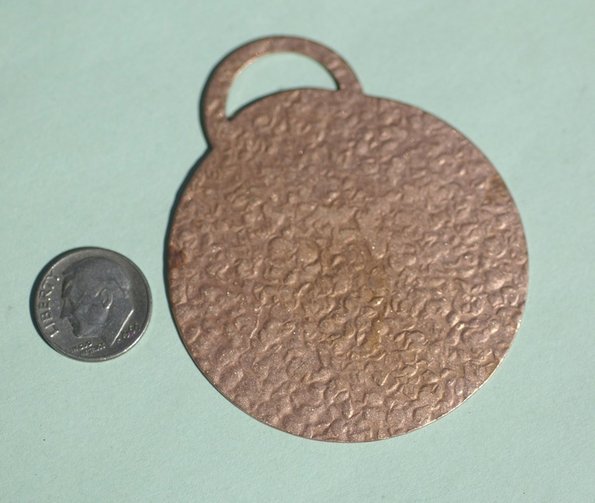 Antique Hammered Pattern Large Disc Tag 66mm Blanks Cutout for Metalworking Stamping Texturing Blank Variety of Metals - 2 pieces