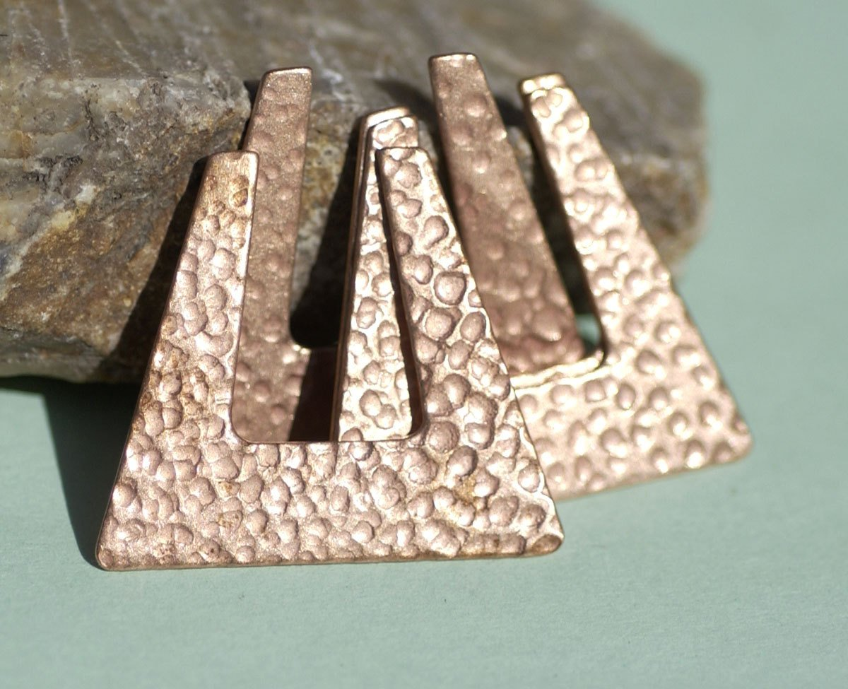 Dappled Hammered Hoop Square 28mm x 32mm 24g for Earrings or Pendant Cutout Texturing Metalworking Blanks Variety Metals
