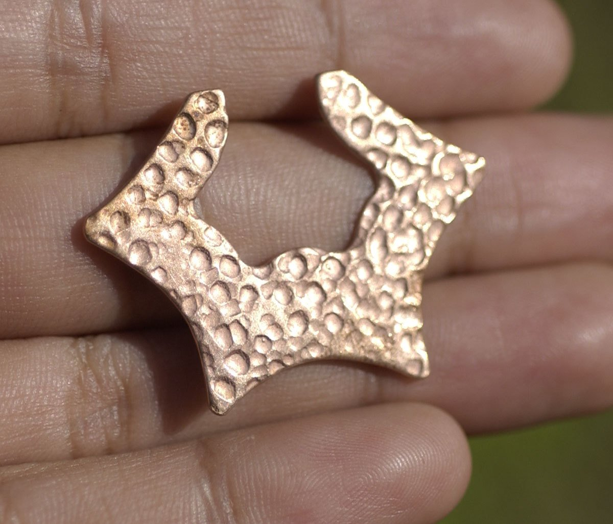 Buy Dappled Hammered Hoops Star Forms 27mm x 36.5mm for Earrings or Pendant for Enameling Stamping Texturing Blanks Variety of Metals - 4 pieces online