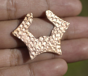Dappled Hammered Hoops Star Forms 27mm x 36.5mm for Earrings or Pendant for Enameling Stamping Texturing Blanks Variety of Metals - 4 pieces
