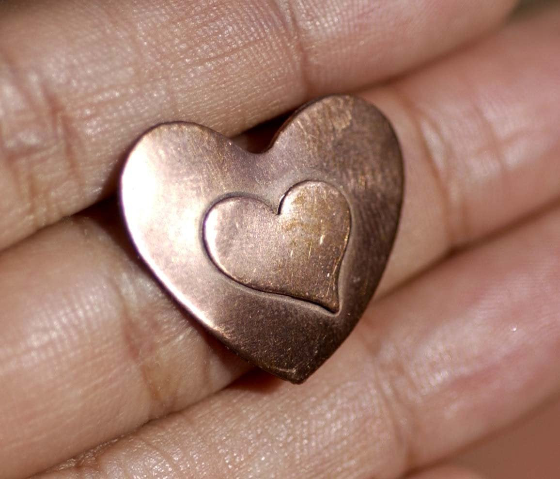Embossed  Heart 10mm x 12.5mm Blank for Enameling Stamping Texturing Metalworking Jewelry Making Blanks