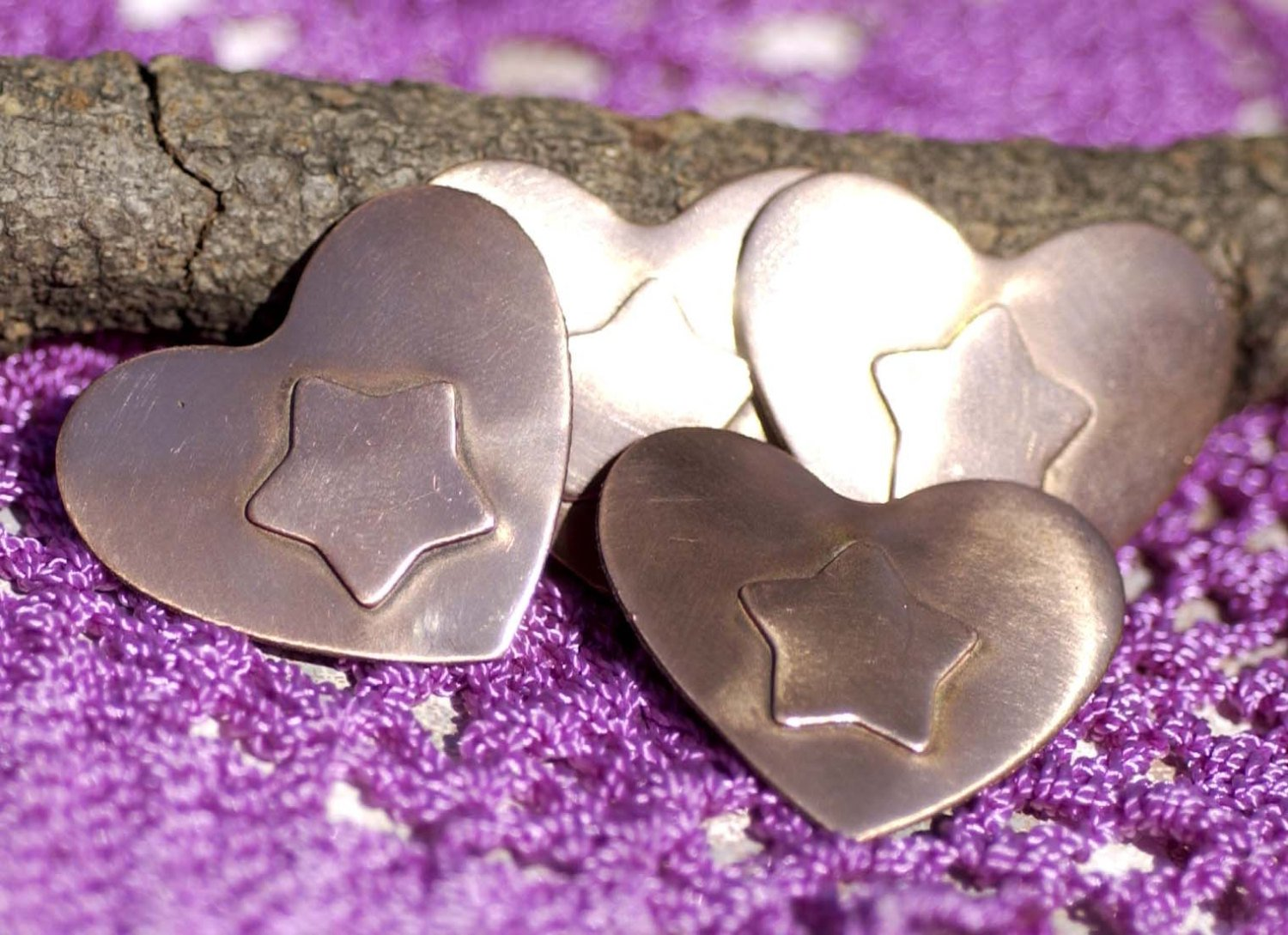 Heart shapes with Star Embossed on Heart Blank Cutout for Enameling Stamping Texturing Metalworking Jewelry Making Blanks