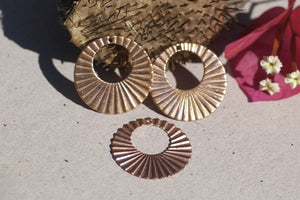 Ruffled Hoops 30mm for Earrings or Pendant Offset Circle for Enameling Stamping Texturing, Jewelry Component, Variety of Metals - 4 Pieces