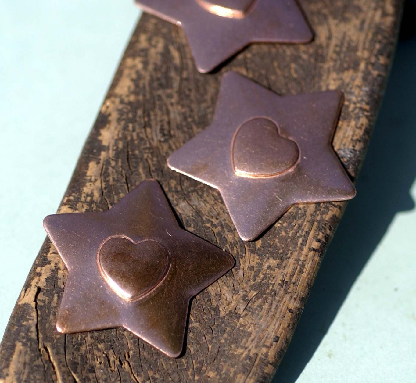 30mm Star with Heart Embossed Blank Cutout for Enameling Stamping Texturing Metalworking Jewelry Making Blanks